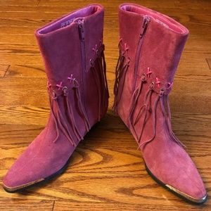 Oak Tree Farms Pink Suede Fringe Cowboy Boots sz 7